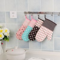 Wholesale C Gloves - Non Slip Mitts Thickening Lattice Printing Oven Gloves For Home Kitchen Accessories Many Styles 4 2gw C R
