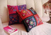 Wholesale Square Pillow Plain - Oriental vintage square shape plain linen cotton w  butterfly flower embroidery cushion cover pillow case 45x45cm ethnic exotic