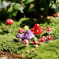 Wholesale Acrylic Decorative - 8 Pcs  Set Kawaii Decorations Mushroom 1 .3cm Fairy Garden Miniatures Decorative Micro Landscape Materials Bonsai Plant Gardening
