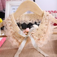 Wholesale Doll Collar Necklace - Wholesale-Lace Collar Necklace Champagne Pearl Lace Doll Collar Korean Women Decorated Crystal Choker Necklaces Jewelry For Women Gift