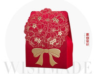 Wholesale Candy Boxes Autumn - 100Pcs Lot Gold Bow Design Candy Boxes Wedding Favor Holders Gold Gift Box 2015 Autumn Style in stock