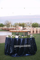 "Wholesale Sale Woven Table - Custom Size ""Great Gatsby"" Sequin Table Cloth Hot sale fancy wedding round navy sequin table cloth"