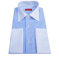 Wholesale Tailor Made Free Shipping - Wholesale-White French-Cuff blue Stripe Dress Shirt, white blue , men's custom tailor made business cotton Shirt, free shipping