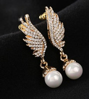 Wholesale Earings Color Diamond - two color diamond angle wing pearl women's earings (88