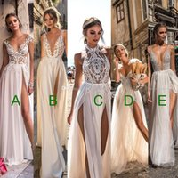 Wholesale Crystal Embellished Wedding Gowns - 5 models sexy high slit tulle skirt wedding dresses 2018 muse berta bridal sleeveless deep plunging v neck heavily embellished wedding gowns