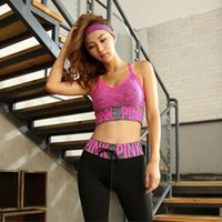 Wholesale sexy baseball - PINK Letter Sports Suit Bra Leggings For Women Color Gym Fitness Yoga Running Elastic Stretch Pants Tanks Tops Sets Sexy Underwear