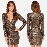 Wholesale club body dresses - Fashion Gold Sequin Body Con 90s Club Dress Wedding Skirt Dress Long sleeve Plus size 2XL