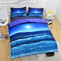 Moon and Ocean housse de couette lit propagation Spread Cool 3D impression Literie bleu doux Literie 3pcs Twin complète Queen King