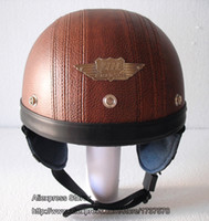 Wholesale Helmet Bol - Wholesale-TOP Quality Leather Bol Scooter Casque Motorcycle Helmet Half Face Casco Full Coffee Helmet & UV Colour Goggles Adult S M L XL