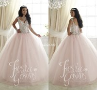 Wholesale Elegant Sweetheart Sequin Prom Dress - Elegant 2016 Sweet 16 Party Quinceanera Dresses Pale Pink Ball Gown Tulle Crystals Cap Sleeves Cheap Plus Size Girls Debutante Prom Dresses