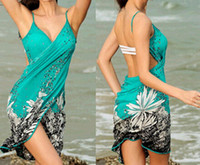 Wholesale Scarves Sash - Beach dresses sexy women deep v-neck backless bikini print Bohemia swimsuit swimwear shoulder-straps skirt dress scarf