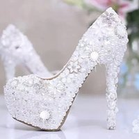 Wholesale White Proms Shoes - New Women Prom Shoes Metal Flowers Crystal Beaded Platform Femme Extreme Pumps Shine Pearl Wedding White High Heels
