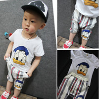 Wholesale Duck Outfits - Summer Baby Kids Cartoon Duck Tracksuits Boys Outfits Baby Clothes Christmas Products Sportswear Kids Outfits Suits Sets 2 Pieces(Top+Pant)