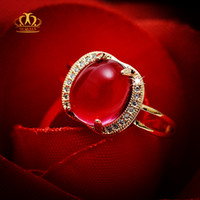 Wholesale Red Tourmaline Rose Gold Ring - Engagement Hot sale Wholesale 18k rose gold plated oval cabochon natural ruby red tourmaline ring for women