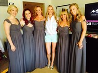 Wholesale Charcoal Dress Gown Image - 2017 Charcoal Grey Bridesmaid Dresses A Line Full Length Chiffon Simple Maid of Honor Dresses Different Style Cheap Pregnant Bridesmaid Gown