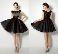Wholesale Short Mini Prom Dress Empire - Biggest Discount 2015 Free Shipping Real Pictures In Stock Prom Evening Dresses Scoop Neck Mini Short Crystal Black Tulle Party Dresses