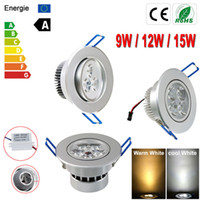 led ceiling downlight kit Canada - Ultra Bright Dimmable 9W 12W 15W LED Ceiling Down Light Cabinet Recessed Fixture Lamp Kit LED Panel Light Lamp Led Downlight + Driver 85-265