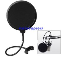 Wholesale Wholesale Mic Pop Filters - 360° Flexible Microphone supplies Mic Pop Screen Studio Wind Windscreen Filter Mask Shield For Broadcasting Recording Singing