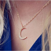 Wholesale Rhinestone Silver Plated Alloy Pendant - Personality Women Wholesale Clavicle Necklaces Jewelry Fashion Quality Gold Silver Plated Full Rhinestone Alloy Moon Pendant Necklaces SN671