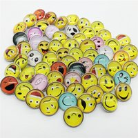 Wholesale smile face button - Wholesale 20PCS Lot High Quality 20MM Smiling Face Metal Snap Button Mixed Styles DIY Snaps Charms Jewelry Bracelet&Bangle S20
