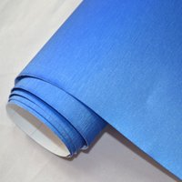 Wholesale Aluminum Brush Vinyl Car Wrap - 1.52x2m(5x7ft) car wrapping vinil film Blue air release steel brushed aluminum vinyl for vehicle color changing free shipping