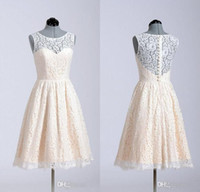 Wholesale Princess Dresses For Adults - Lace Bridesmaid Dresses 2016 A Line Short Coral Lavender Knee Length Custom Made In Stock For Wedding Party Cheap