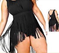 Wholesale Plus Size Bikini Skirt - Plus Size Fringe Tassel Tankini Set Swimsuit Skirt Chubby Women sexy Padded High Waist Bikini Swimwear bath suit summer beach Apparel
