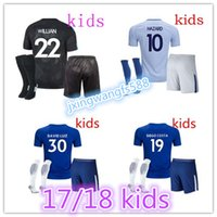 Wholesale Fabregas Jersey - top quality 17 18 home blue soccer Jersey kids Kits PEDRO FABREGAS HAZARD DIEGO COSTA MORATA KANTE WILLIAN Away white youth soccer jersey