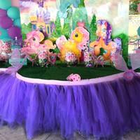фиолетовый тюль юбка младенец оптовых-Американский стиль таблица тюль пачка юбка идеально подходит для свадьбы событие партии Baby Shower свадебные принадлежности темно-фиолетовый партии таблица юбка