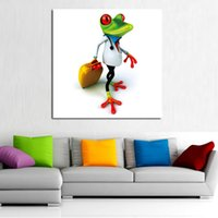 Wholesale Dr Painting - Handmade Abstract Wall Art Modern Travelling Dr. Frog Abstract Decor Lovely Animal Oil Painting On Canvas For Living Room Decor