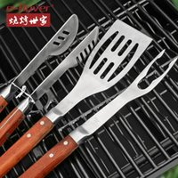 Wholesale Stainless Steel BBQ Tools Set Necessaire Portable Barbecue Tools with Clip Fork Spatula Outdoor Camping Barbacoa Churrasco
