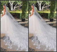 Wholesale Bridal Lace Cathedral Veil - Bridal Veils Kim Kardashian New Best Sale Charming White & Ivory One Tiered Cathedral Bride Wedding Veil Custom 3 Meters Lace