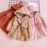 Wholesale Girls Waist Coats - Winter New Girls coat hooded Collect waist cotton Long Sleeve coat Children Clothing 2-7T 318416