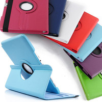 Wholesale 360 Degree Rotating Lichee PU Leather Case Stand Cover for iPad Mini Air Air2 Samsung Tab TabS TabA by DHL