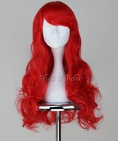 Wholesale Mermaid Costume Accessories - Costumes Accessories Costumes The Little Mermaid Red Wavy Wig Cosplay Costume with hair net Comic Ariel Cosplay Wavy Red Wig