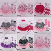 Wholesale Newborn Baby Girl Head Bands - 2015 autumn christmas clothes floral newborn baby romper with tutu dress +head band+shoes+leggings 4pcs set baby clothing set A001
