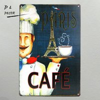 Wholesale Wall Stickers Paris - DL-Vintage metal crafts Paris coffee Tin Sign Art Metal Poster Bar Club wall Decor home decoration