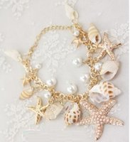 Wholesale Ocean Shell Pearls - Vintage Fashion Ocean Sea Star Starfish Conch Shell Pearl Hand Chain Bracelets Gold Plated Bracelet Women Jewelry