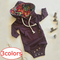 Compra Body Bambina Per Gli Inverni-INS XMAS Solid Warm Neonate Tuta Manica lunga Ragazzi Autunno inverno Vestiti New Born Baby Pocket Hooded Ropa Bebe Body neonato