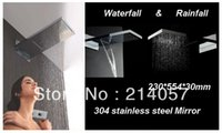 Wholesale Dual Rain Shower - waterfall shower head 230*554*30mm luxury wall mounted rainfall shower head dual headed rain shower head