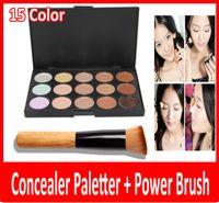 Wholesale Cheap Professional Makeup Brushes - Cheap 2015 professional New 15 Colors Concealer Palette Contour Face Cream Makeup Camouflage Concealer Palette Powder Brush