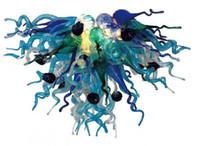 Wholesale Coloured Light Pendants - Free Shipping 110v 120v Nordic Creative Contemporary Multi Colour Blown Glass Pendant Light With LED Bulbs