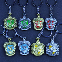 Wholesale trendy antique ring - Enamel Harry Hogwarts School Gryffindor Slytherin Hufflepuff Ravenclaw Keychain Key rings Potter Fans Fashion Jewelry BLISTER RETAIL PACKING