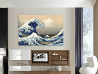 Wholesale Abstract Waves Painted Walls - Art Kanagawa wave Japan paintings for living room wall oil painting picture Modern Print Painting Free Shipping A 744