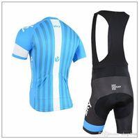 ingrosso bicicletta bicchierini di taglio-Maglia da ciclista della squadra Blue Sky 2015 a maniche corte bavaglino / senza pettorina abbigliamento da bici con pantaloni imbottiti abbigliamento da bici taglia Xl-4XL