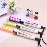 Wholesale pro hair curl - Magic Pro Hair Curlers Electric Curl Ceramic Spiral Hair Curling Iron Wand Salon Hair Styling Tools Styler