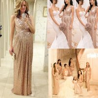 Wholesale Pageant Sequin - 2017 Rose Gold Bridesmaids Dresses Sequins Plus Size Custom Made Maid Of Honor Wedding Party Dress Pageant Champagne Bridesmaid Dresses