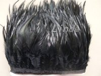 Commercio all'ingrosso 10 Yards / lot Colore Nero Gallo Hackle Feather Trim 4-6 pollici / 10-15 cm Plumes Feathers Ribbon Vendita Calda
