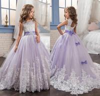 Wholesale Girls Beauty Pageant Dresses Kids - Glamorous Kids Beauty Pageant Dresses Lanvender Lace Appliques Bow Beaded Flower Girl Dresses Lace-Up Vestidos De Comunion Kids Formal Wear