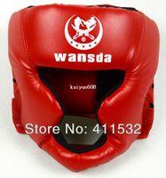 schwarze helme großhandel-Freies Verschiffen ROT / SCHWARZ / dunkelblau Geschlossener Art Boxenkopfschutz / Sparring Sturzhelm / MMA / Muay Thai Kickboxingklammer / Kopfschutz HE-29